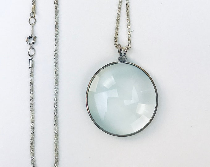 Monocle Silver Necklace Magnifying Glass Jewelry Chain Nautical Steam Punk Gift for Girlfriend Best Friend or Mother Gift