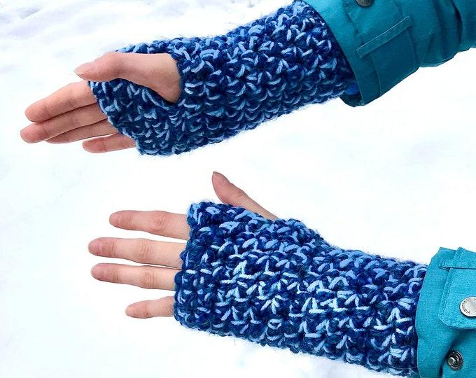 Royal Blue Fuzzy Fingerless Gloves Handmade Girlfriend Gift Handmade Crochet Ready to ship