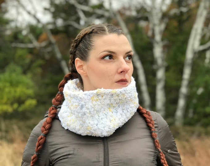 Infinity Scarf Cowl  in Soft White Neck Warmer Seasonal Gift