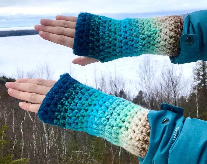 Blue Lake  Ombre Fingerless Gloves Handmade Girlfriend Gift Handmade Crochet Ready to ship