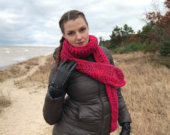 Big Red Comfy Thick Scarf Handmade Crochet Christmas Gift Ready to ship