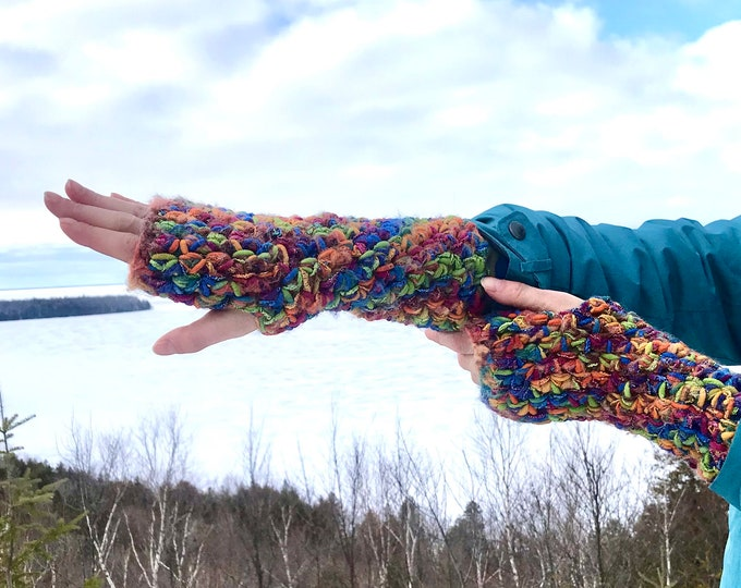 Shiny Rainbow Fingerless Gloves Handmade Girlfriend Gift Handmade Knit Ready to ship