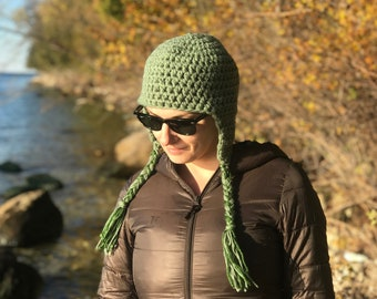 Sage Green EarFlap Hat Handmade By Crochet Gift Idea For Him or Her