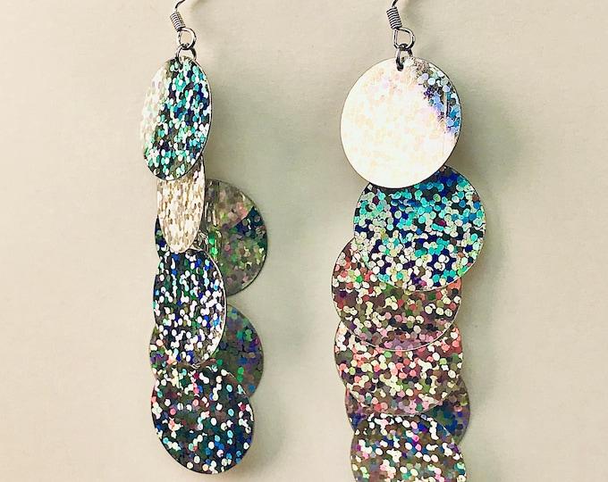 Shimmery Silver Earrings Disk Dangle Celestial Statement Jewelry