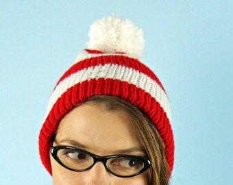 Waldo Pom Pom Hat Peppermint Cap  Beanie  Red and White Striped  Winter Christmas Gift Ready to Ship