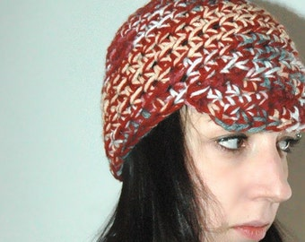 Beanie Newsboy Hat Red Blue and Rust Mix Billed  Handmade Christmas Gift Ready to ship