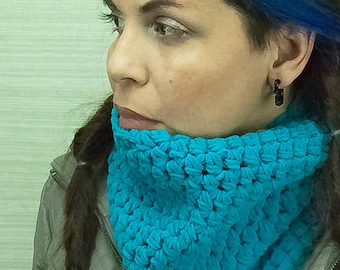 Velvet Blue Teal  Circle Cowl Scarf