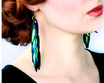 Green Beetle Wing Earrings Long Iridescent Unique Natural Insect Jewelry Festival Gear Boho Chic Bridal Wedding Trends Gift for Her Idea
