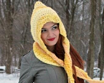 Hooded Scarf Yellow Crochet  Handmade Christmas Gift Ready to ship
