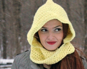 Hooded Scarf Yellow Mobius Scarf  Children's Hat Gift Under 30 Handmade ChristmasReady to ship