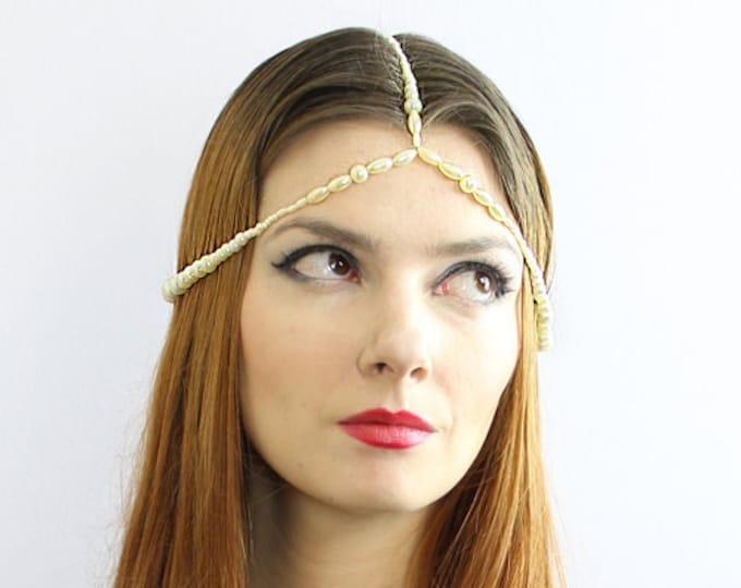 Flapper Pearl Crown Hair Chain  Boho Hippie Wedding Bridal  Head Dress Jewelry Gift Idea for Her Daughter Teen Wife Aunt Best Girl Friend