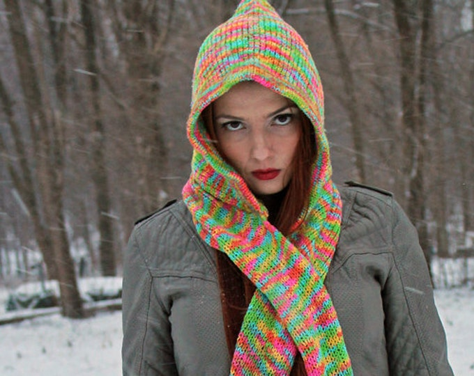Hooded Scarf Pastel Rainbow  Snood Skoodie Handmade Christmas Gift Ready to ship