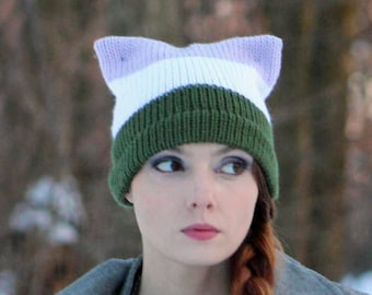 Gender Queer Pride Pussy Hat Cat Kitten Striped Green/ Chartreuse White and Purple Lavender Human Rights Parade Gay Lesbian Trans LGBTQ