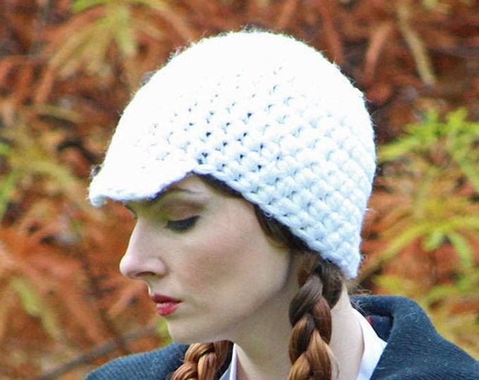 White Hat Baker Boy Billed Beanie Skull Cap Gift for Boyfriend Or Girlfriend Unisex Tam Hat