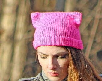 Hot Pink Pussy Hat! Cat Kitten Hot Pink Ear Hat Ready to Ship Women's Rights March Protest Resist Trump Impeach Political Gift #METOO