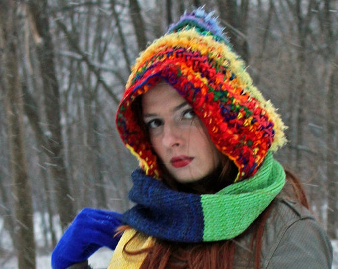 Rainbow Hooded Scarf  Chunky Snood Skood Handmade Christmas Gift Ready to Ship