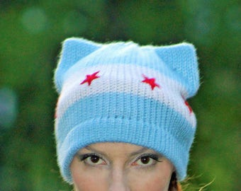Chicago Flag Pussy Hat! Red Stars and Baby Blue and White Striped Kitten Ear Accessory Political Gift Protest Resist Trump Anti War March