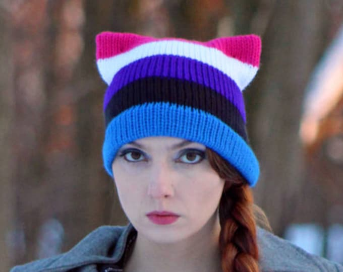 Gender Fluid Pride Pussy Hat Cat Kitten Striped Blue Black Purple and Pink  HatHuman Rights Parade Gay Lesbian Trans Queer LGBTQ