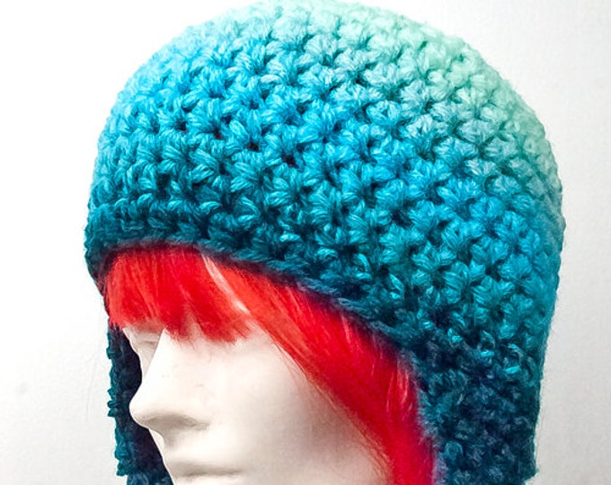 Teal and Blue Light to Dark Ombre Earflap Hat