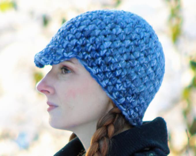Blue Tones Baker Boy Hat Billed Beanie Cap Gift for Best friends Boyfriend Girlfriend Tam Skullcap Toque