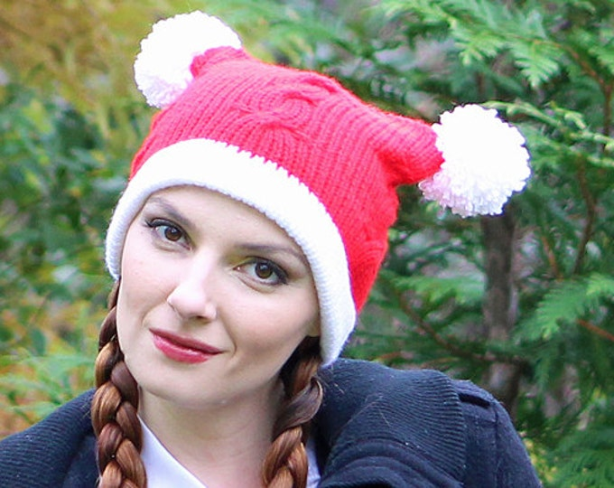 Pom Pom Christmas Hat Red and White  Pigtail Beanie Hat Cable Knit Handmade Gift Ready to ship Holiday Stocking Stuffer