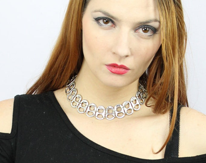 Chainmaille  Pop Tab Choker  Statement Necklace