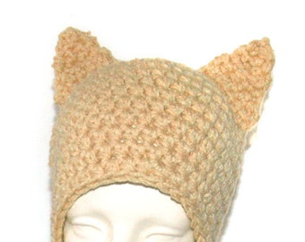 Tan Fox EarFlap Cap Everyday Pussy Hat Winter Fall Gift Idea Womens March on Washington Support Men's hat Kid's Unisex Warm Skullcap