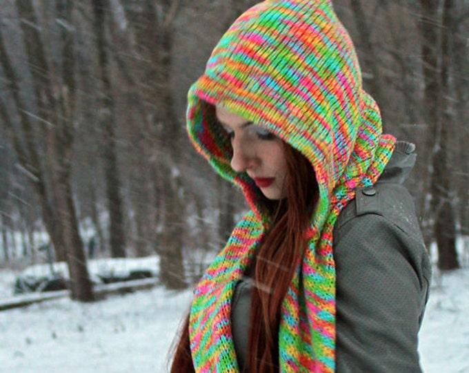 Hooded Scarf Pastel Rainbow  Snood Skoodie Handmade Christmas Gift Ready to ship