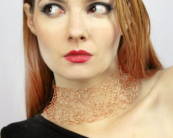 Copper Metal Choker Necklace Crochet Collar of  Wire Unique Handmade Jewelry Bridal or Wedding Accessory or Elegant Gift