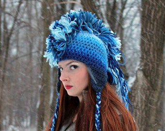 Blue Skies Ombre Fade Mohawk  Ear Flap Hat Handmade Christmas Gift Ready to Ship