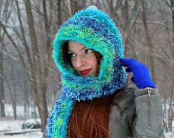 Fuzzy Teal  and Blue Hooded Scarf Handmade Crochet Hat Winter accessory Gift for Women or Girls