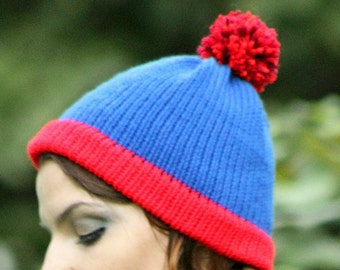 Stan Marsh  Blue and Red POm POm  Handmade Knit  Hat Costume ready to ship  Cartoon Beanie