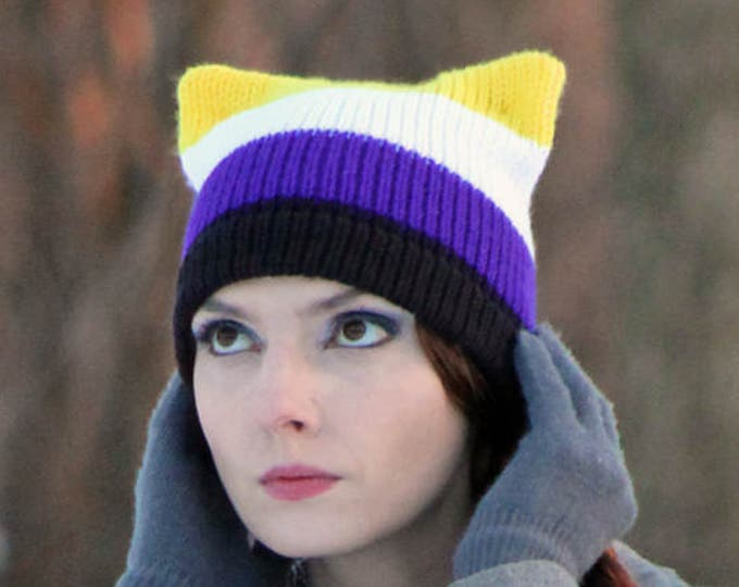 Pussy Hat Gender Non Binary Pride Cat Striped Black Purple White & Yellow Human Rights Parade Trans Queer LGBTQ Handmade Gift Ready to Ship