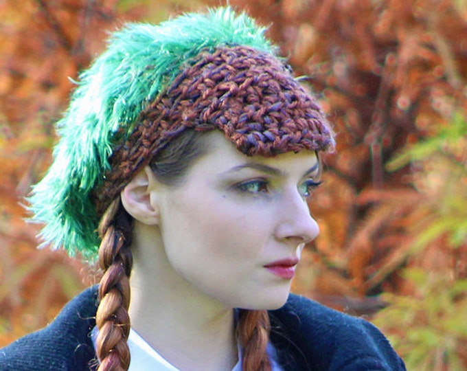 Slouch Tam Hat Brown and Green Fuzzy Soft  Billed Newsboy Beanie Girls Winter Hat Great Gift for Kids Children Accessories