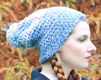 Slouch Baby Blue Pom Pom Beanie Skullcap Warm Winter Hat Ready to Ship Boyfriend Girlfriend Gift
