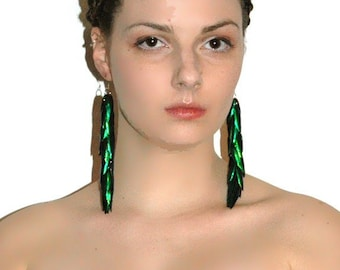 Green Beetle Wing Earrings Bridal or Prom Jewelry Super Long Dangle Accessory  Perfect Gift for Her Under 30