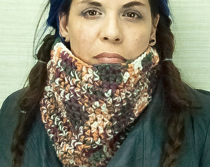 Brown Rust Infinity Scarf Tube Circle Cowl Handmade Crochet for Him or Her Cozy Warm Earth Boho Rustic Hippie Christmas Gift Ready to ship