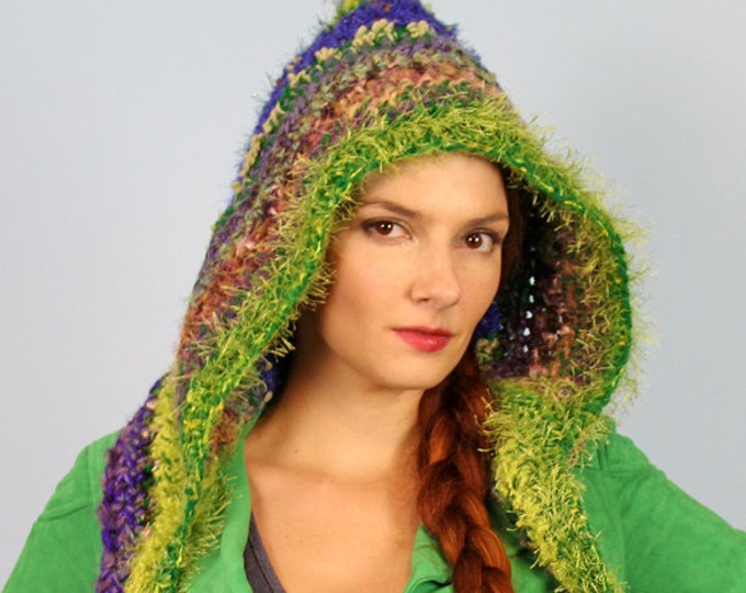 Hooded Scarf Green and Purple  Crochet Handmade  Christmas Gift Soft Snood Skood Winter Gift for Women Teens and Children