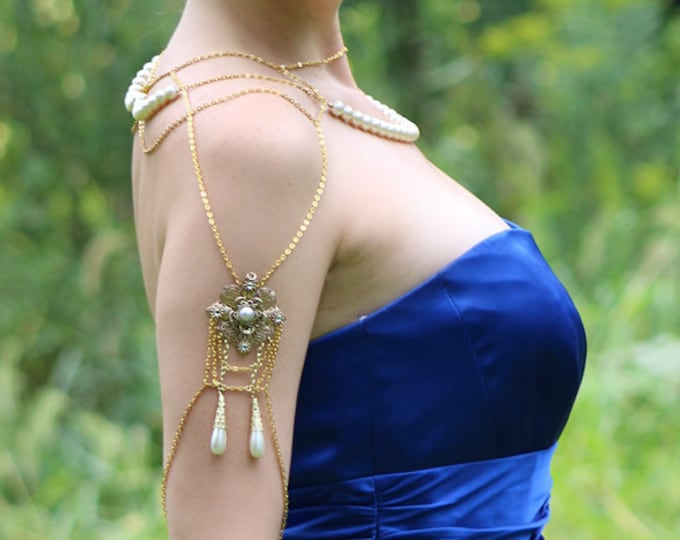 Gold and Pearl Filigree  Jewelry Shoulder Chain Necklace Wedding Ready to Ship Gift Bridal Style