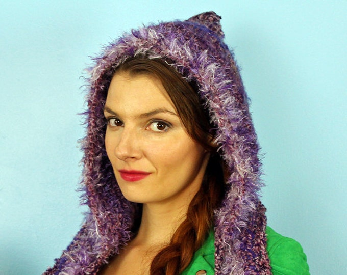 Purple Hooded Scarf  Crochet Snood Skood for Her Handmade Christmas Gift Ready to ship