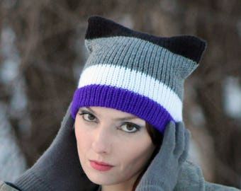 Asexual Pride Pussy Hat Cat Kitten Striped Purple White Grey and Black Hat Human Rights Parade Gay Lesbian Trans Queer LGBTQ