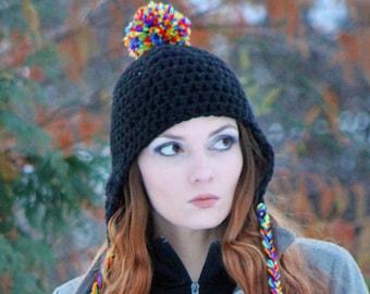Rainbow PomPom Hat Black Earflap Trapper Handmade Crochet Gift For Him or Her