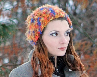 Fuzzy Orange and Purple Beanie Slouch Hat  Soft Warm Winter Tam Handmade  Accessory  ready to ship Christmas Gift