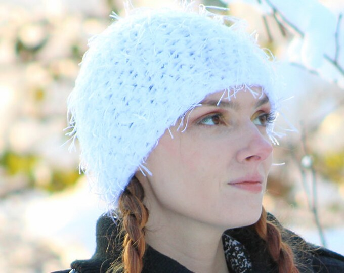 White Fuzzy Beanie Hat Ready to ship Stocking Stuffer Gift for Your Teenage Daughter