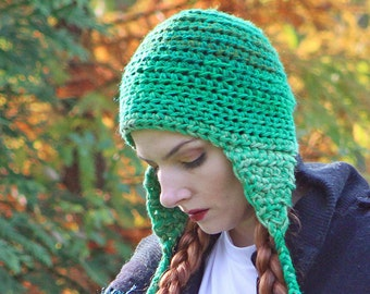 Green Ombre  EarFlap Hat Handmade One of a Kind Crochet Gift for Men Women or Teens