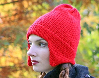 Red Ear Flap Hat For Men Women, Girls, Boys Or Teens Ready to Ship   Handmade Christmas Gift Stocking Stuffer