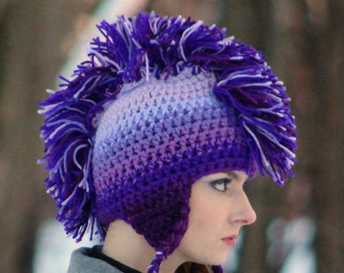 Purple Ombre Mohawk  Ear Flap Hat For Winter Perfect Gift