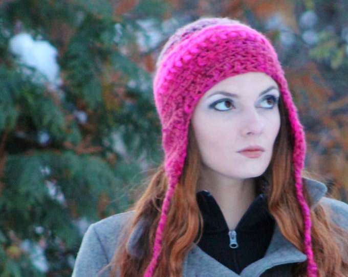 Hot  Pink Warm Soft EarFlap Hat Handmade Crochet  Christmas Gift for Her Ready to Ship