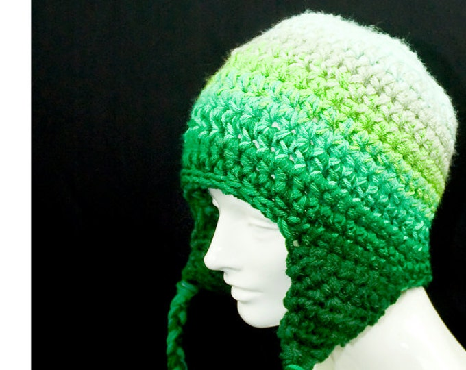 Green  EarFlap Hat Forest Fade adult size