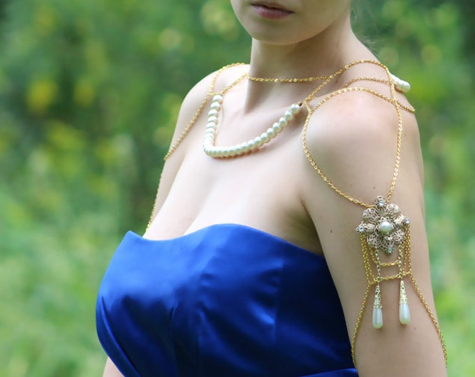 Gold and Pearl  Jewelry Shoulder Chain Necklace Filigree Wedding Ready to Ship Gift Bridal Style